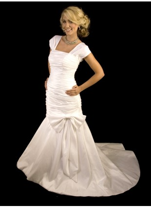 Bridal Gown - Ruched Trumpet with Bow